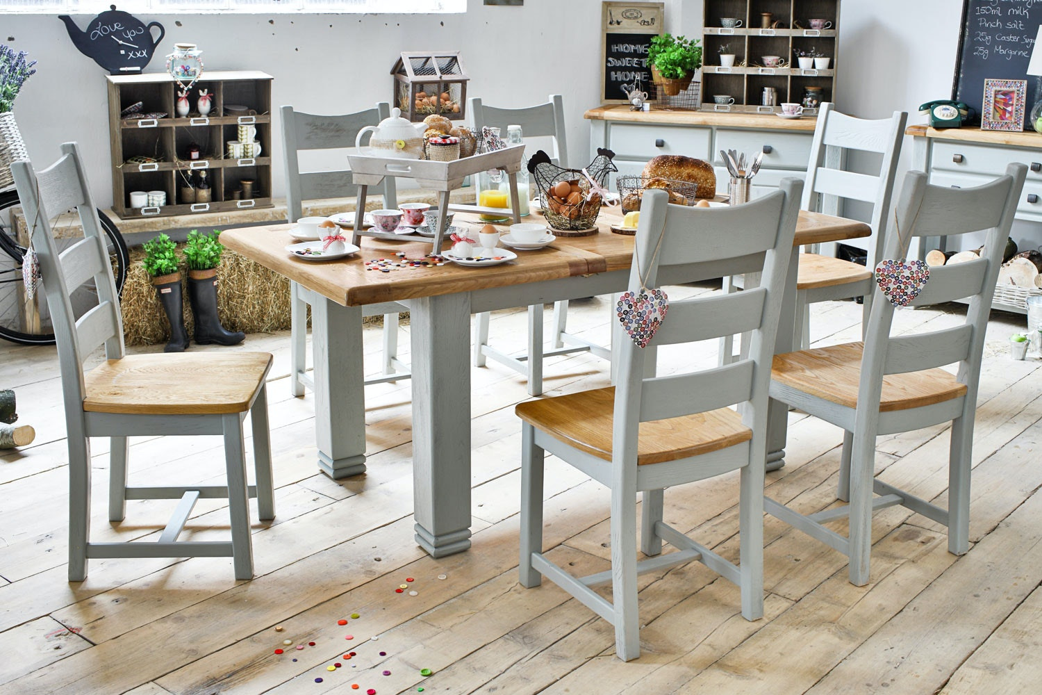 Queenstown 7-Piece Dining Set | Painted Grey