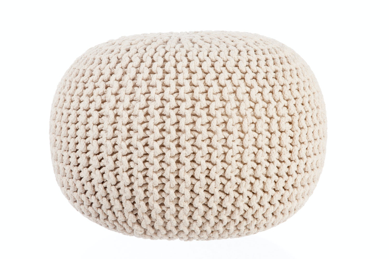 Cream Knitted Pouffe