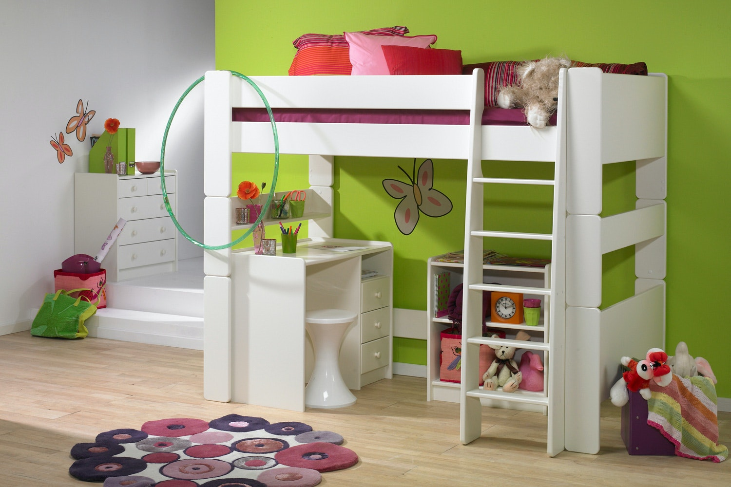 Popsicle High Sleeper Bed Frame with accessories