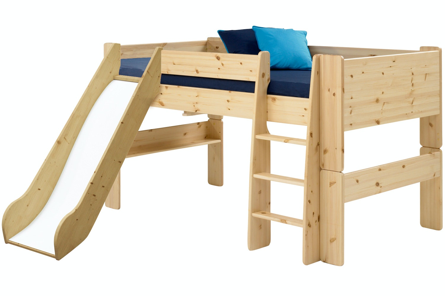 Midsleeper Bed Frame White Natural with Slide