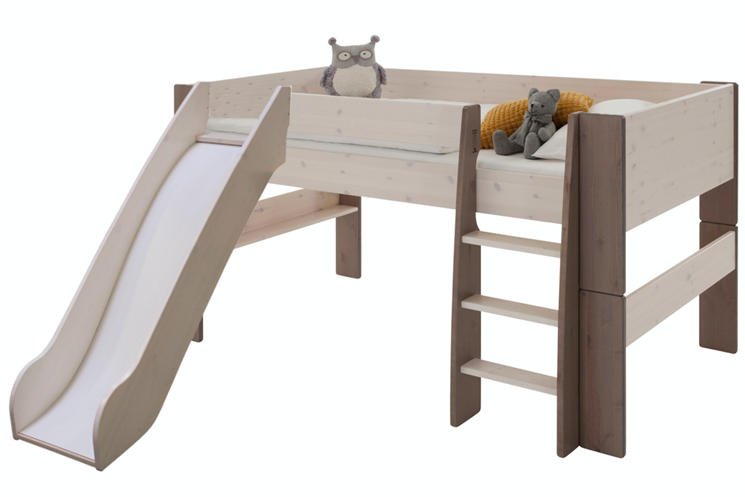 Midsleeper Bed Frame White Wash & Stone with Slide
