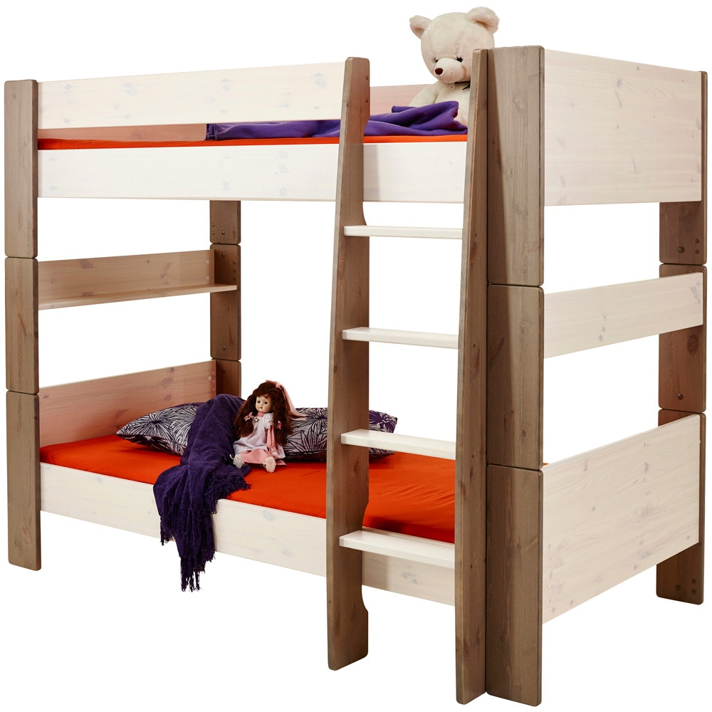 Popsicle Bunk Bed White Wash & Stone