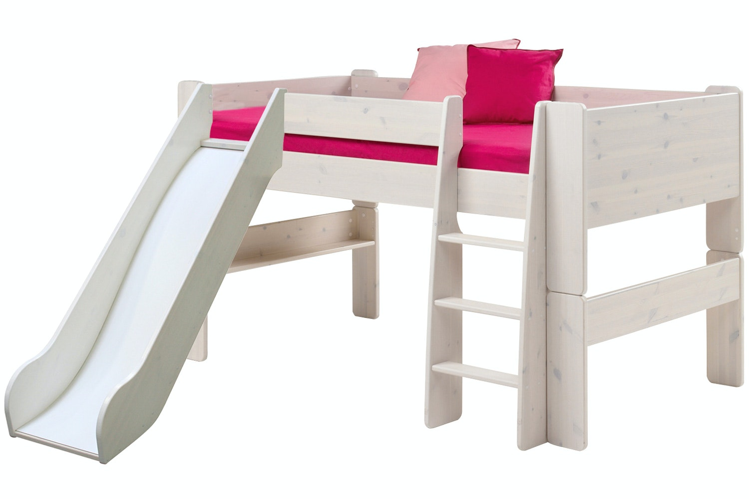Midsleeper Bed Frame White Wash with Slide