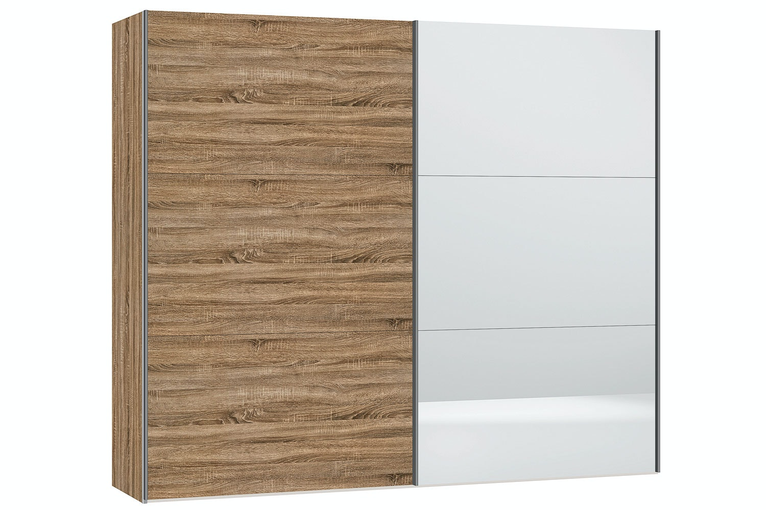 Sofia Sliding Wardrobe 253Cm | Oak + Mirror