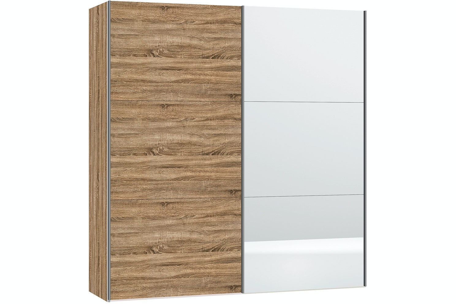Sofia Sliding Wardrobe 203cm |Oak + Mirror