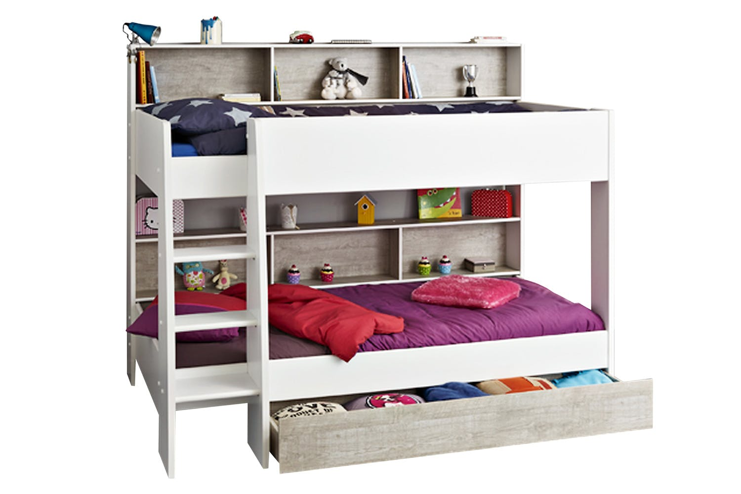 Charlie Storage Bunk With Free Drawer White Stone