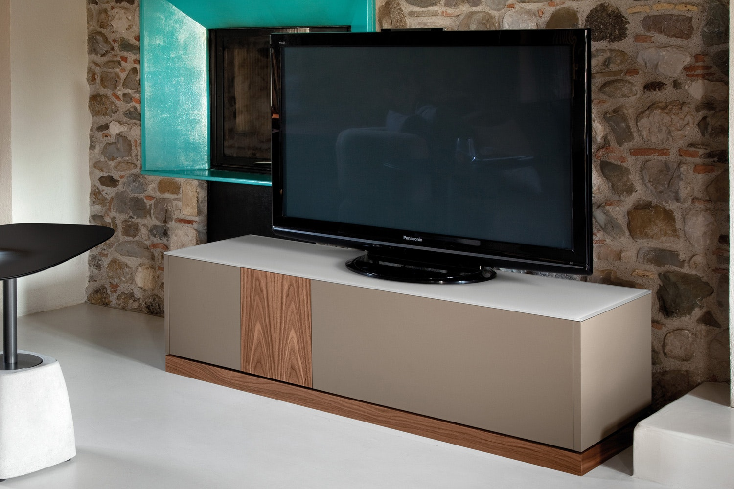 Contour TV Stand | Taupe & Walnut