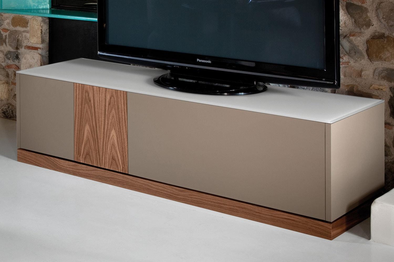 Contour TV Stand | Taupe & Walnut