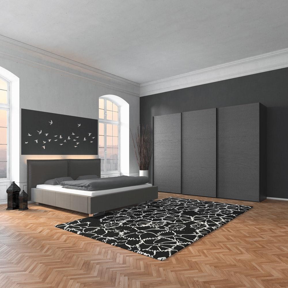 Lucy Sliding Wardrobe 203Cm | Fino Antracite + Mirror