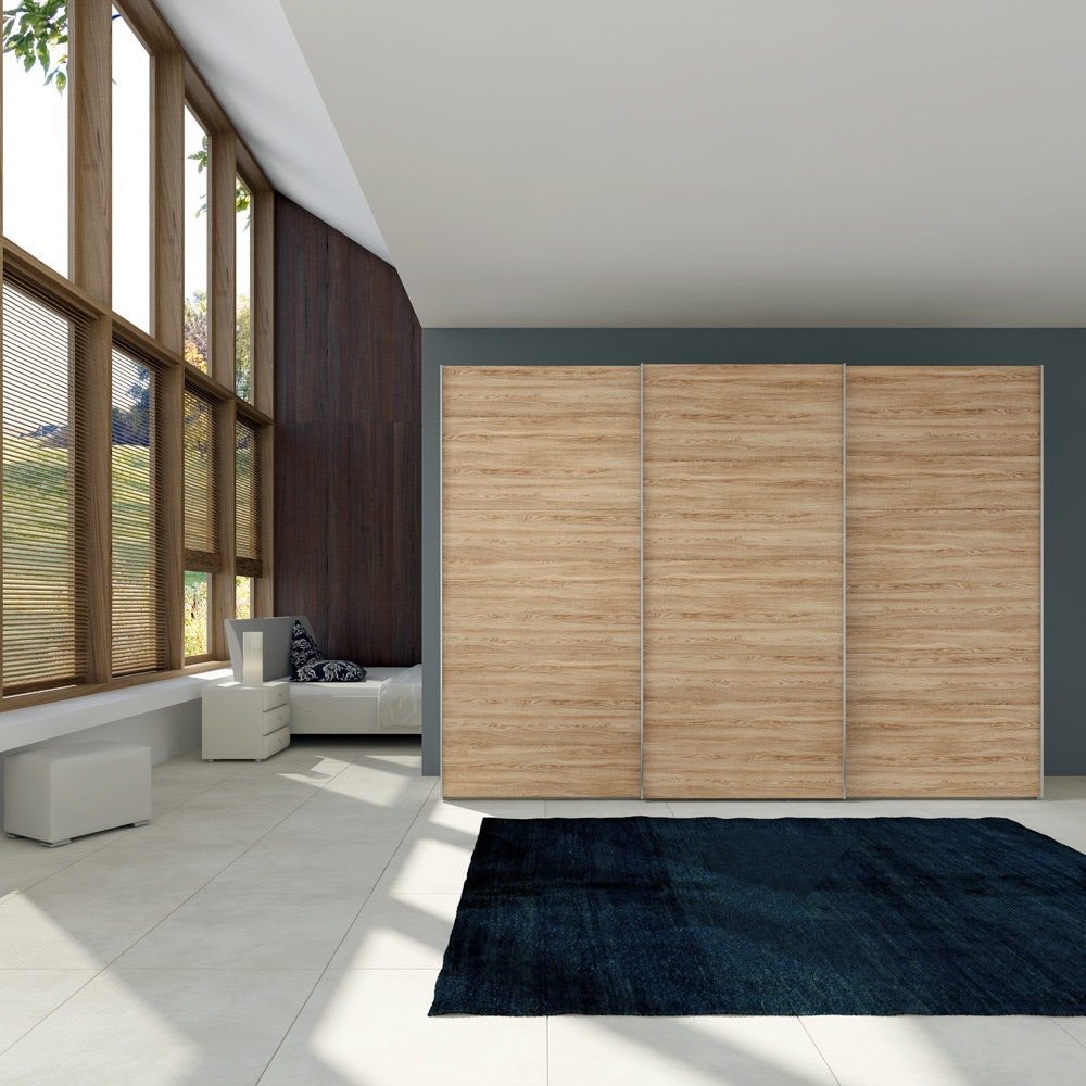 Christine Sliding Wardrobe 203Cm | Oak + White Glass