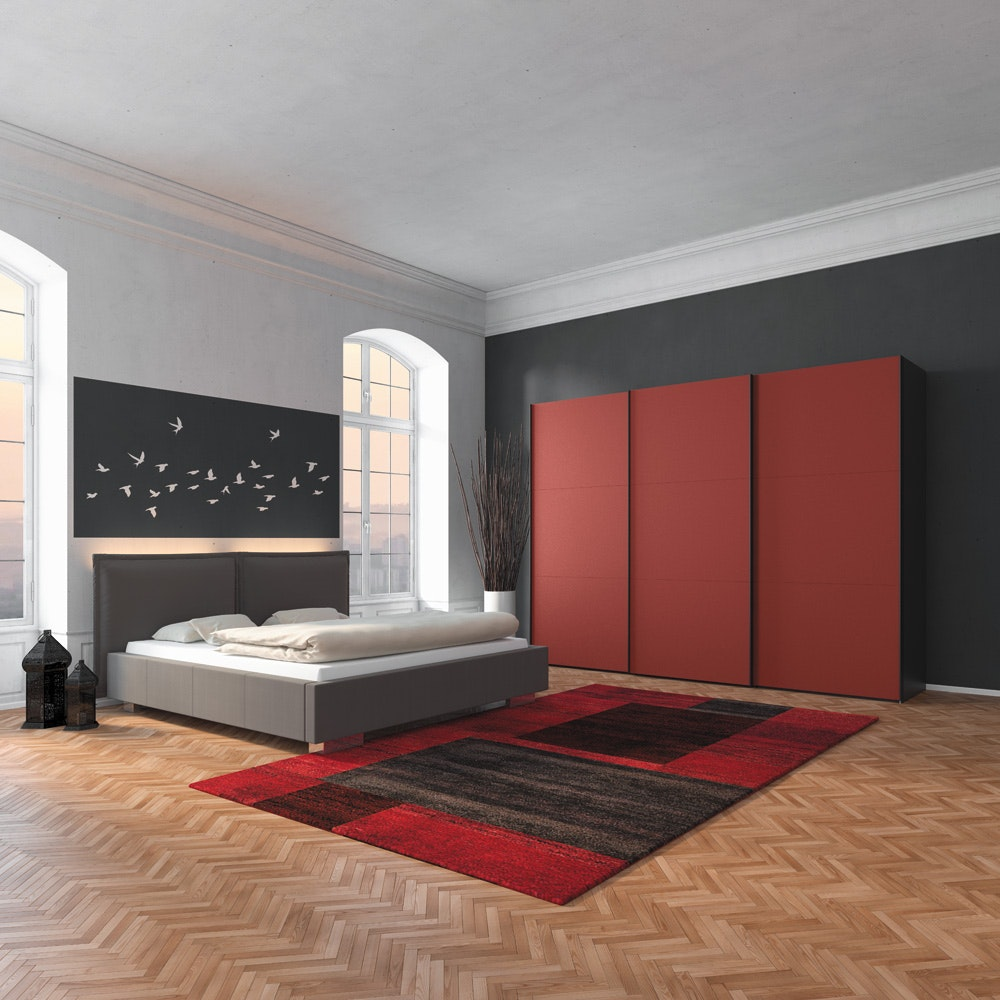 Skye Sliding Wardrobe 203Cm | Red Glass Matt + Antracite Glass