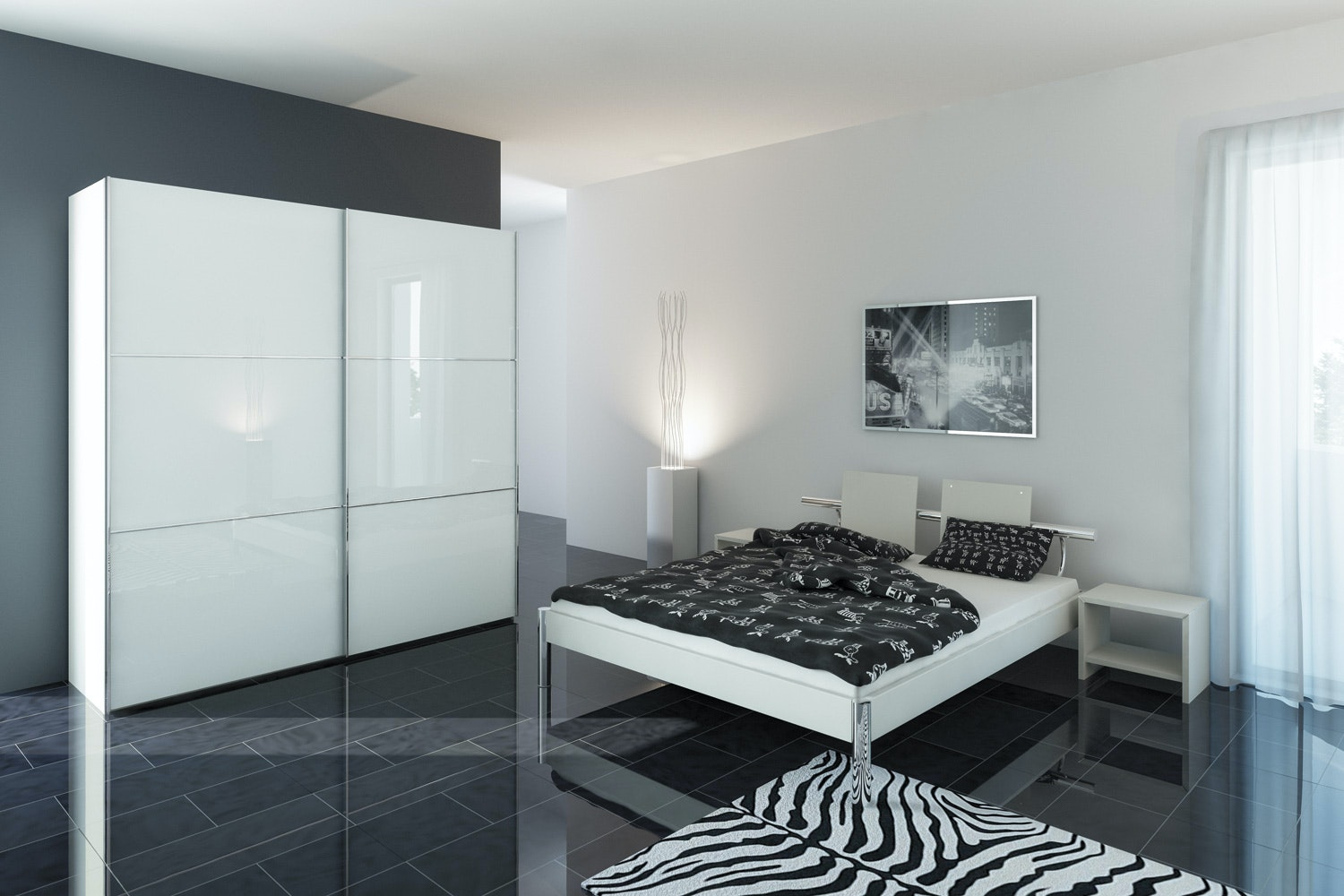 Zoe Sliding Wardrobe 203Cm | White Glass + Mirror