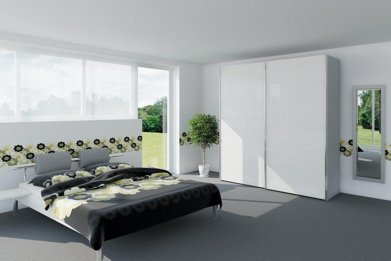 Yasmin Sliding Wardrobe 203Cm | White High Gloss + Mirror