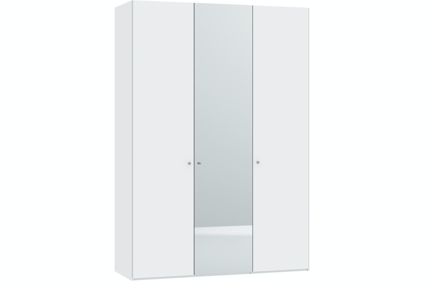 Meggan Hinged 3 Door Wardrobe 152Cm | White Glass Matt + Mirror