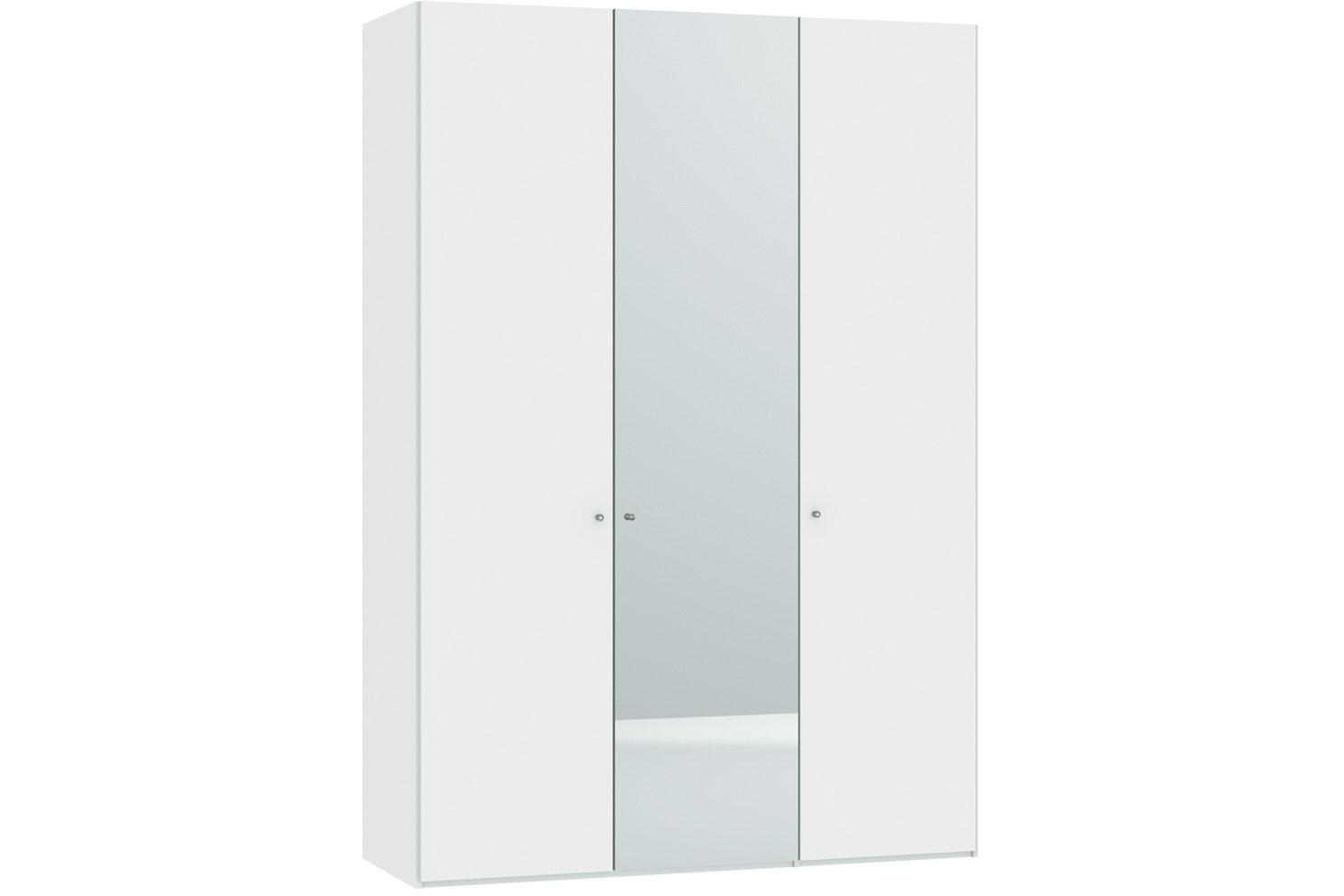 Meggan Hinged 3 Door Wardrobe 152Cm   White Glass Matt + Mirror