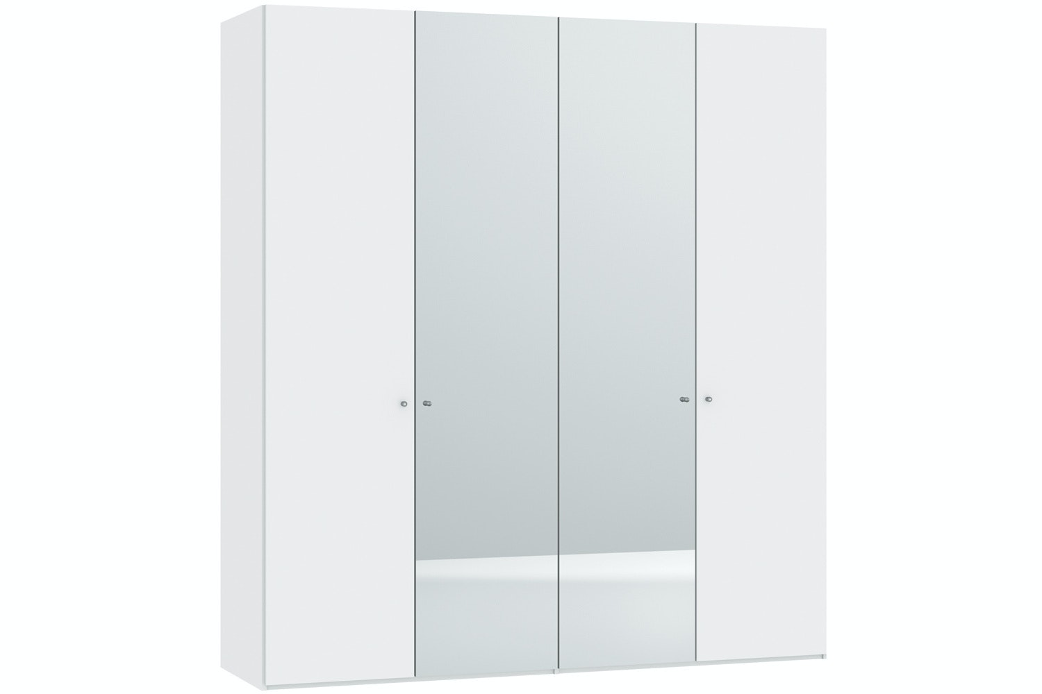 Meggan Hinged 4 Door Wardrobe 203Cm | White Glass Matt + Mirror