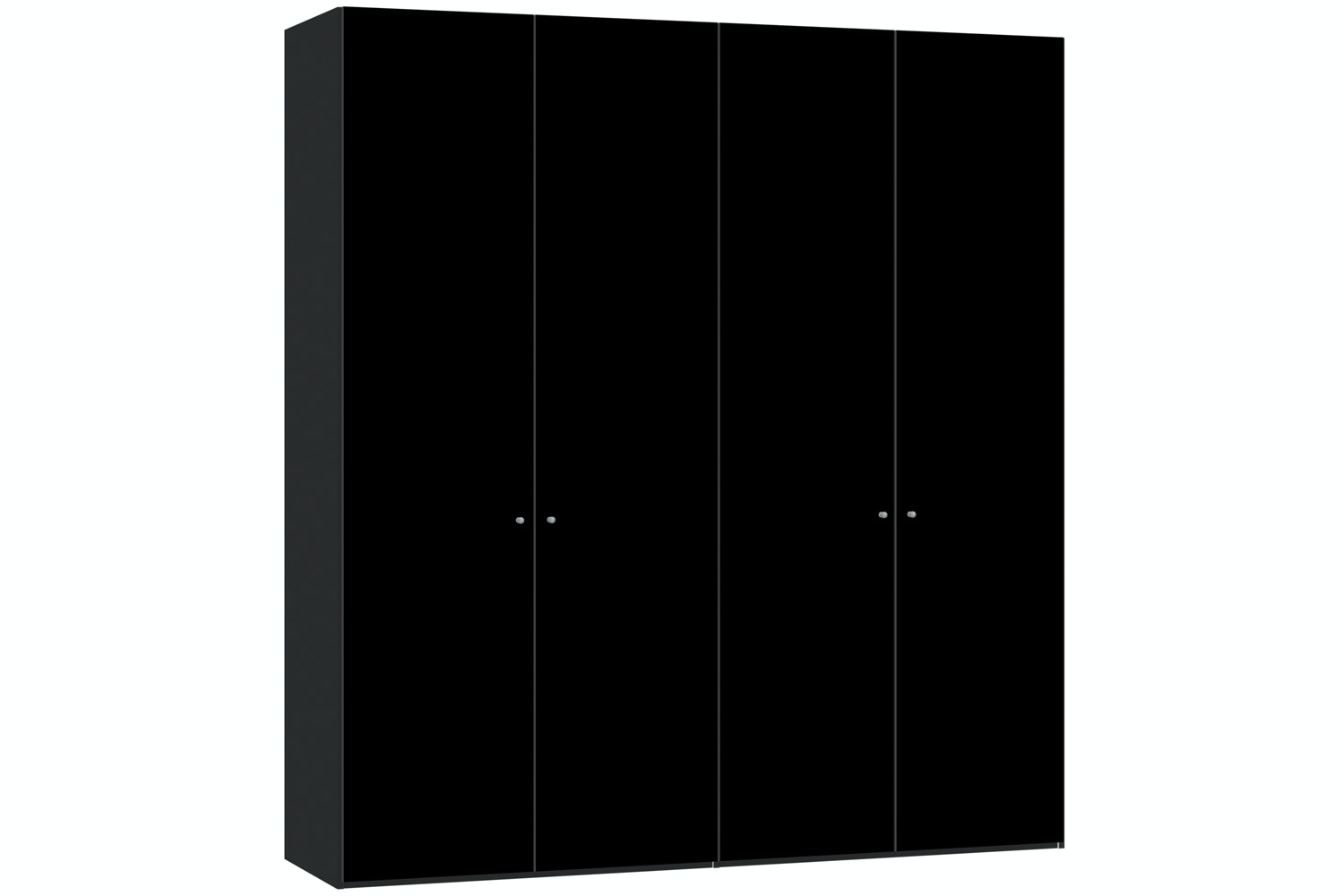 Janet Hinged 4 Door Wardrobe 203Cm | Black Glass