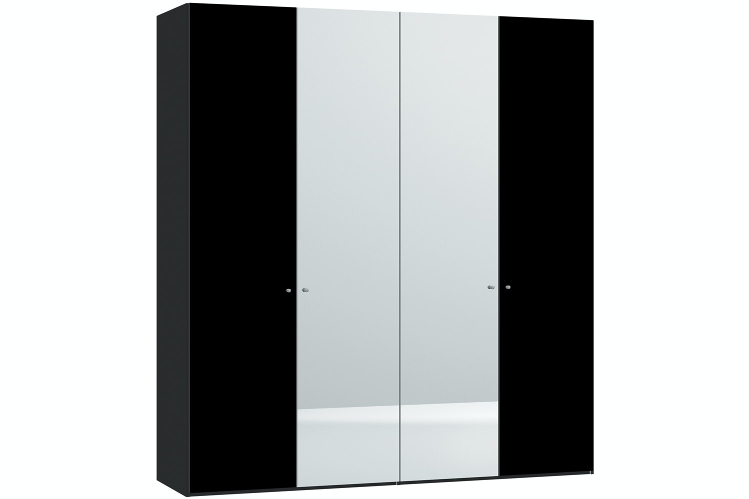 Janet Hinged 4 Door Wardrobe 203Cm | Black Glass + Mirror