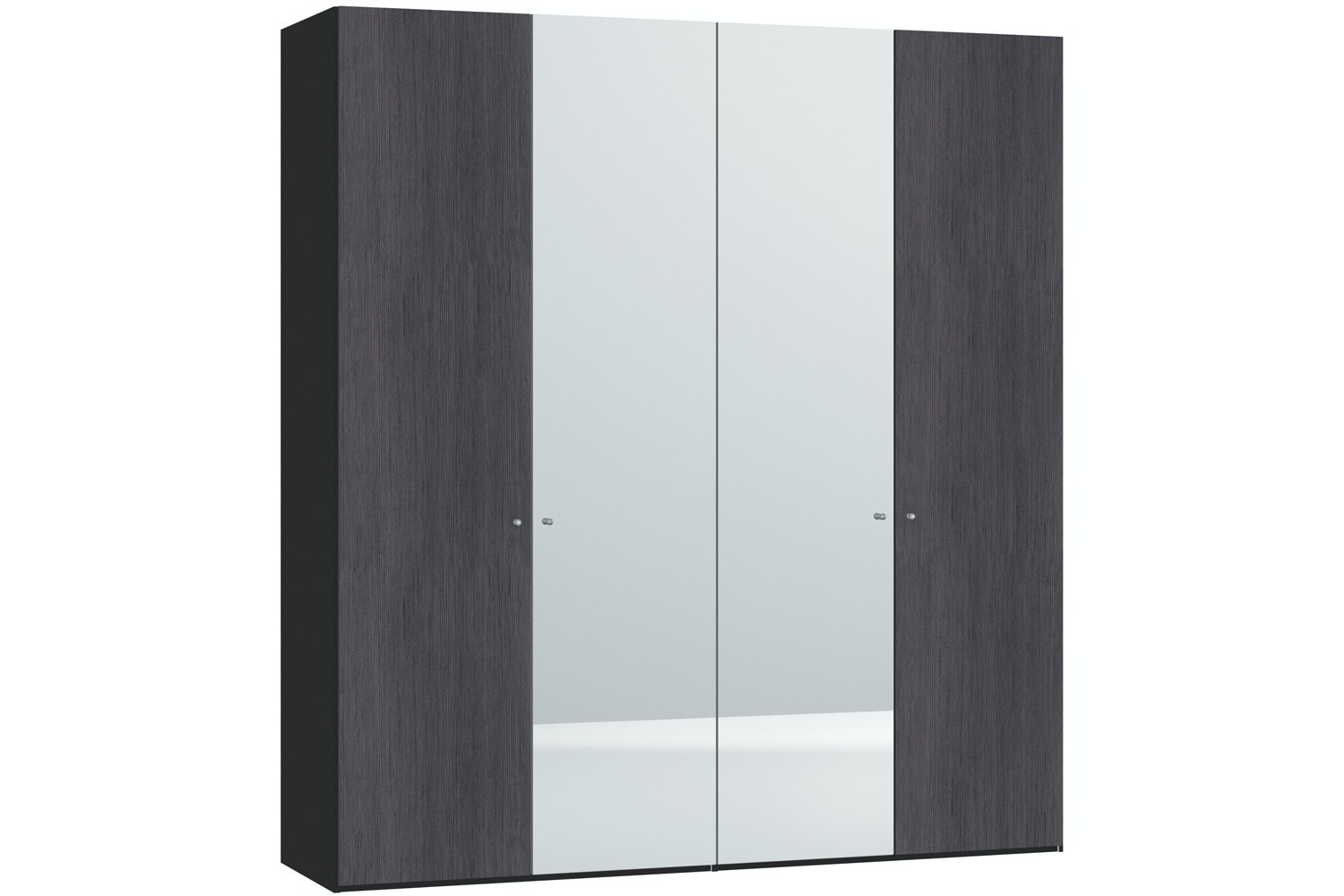 Lucy Hinged 4 Door Wardrobe 203Cm | Fino Antracite + Mirror