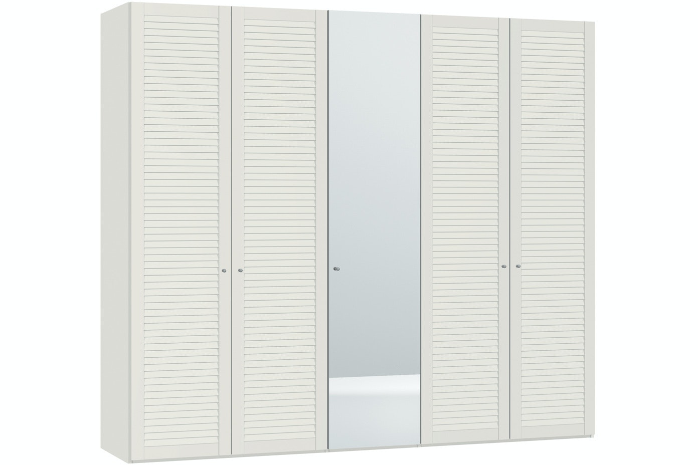 Sarah Hinged 5 Door Wardrobe 253Cm | Lamella + Mirror