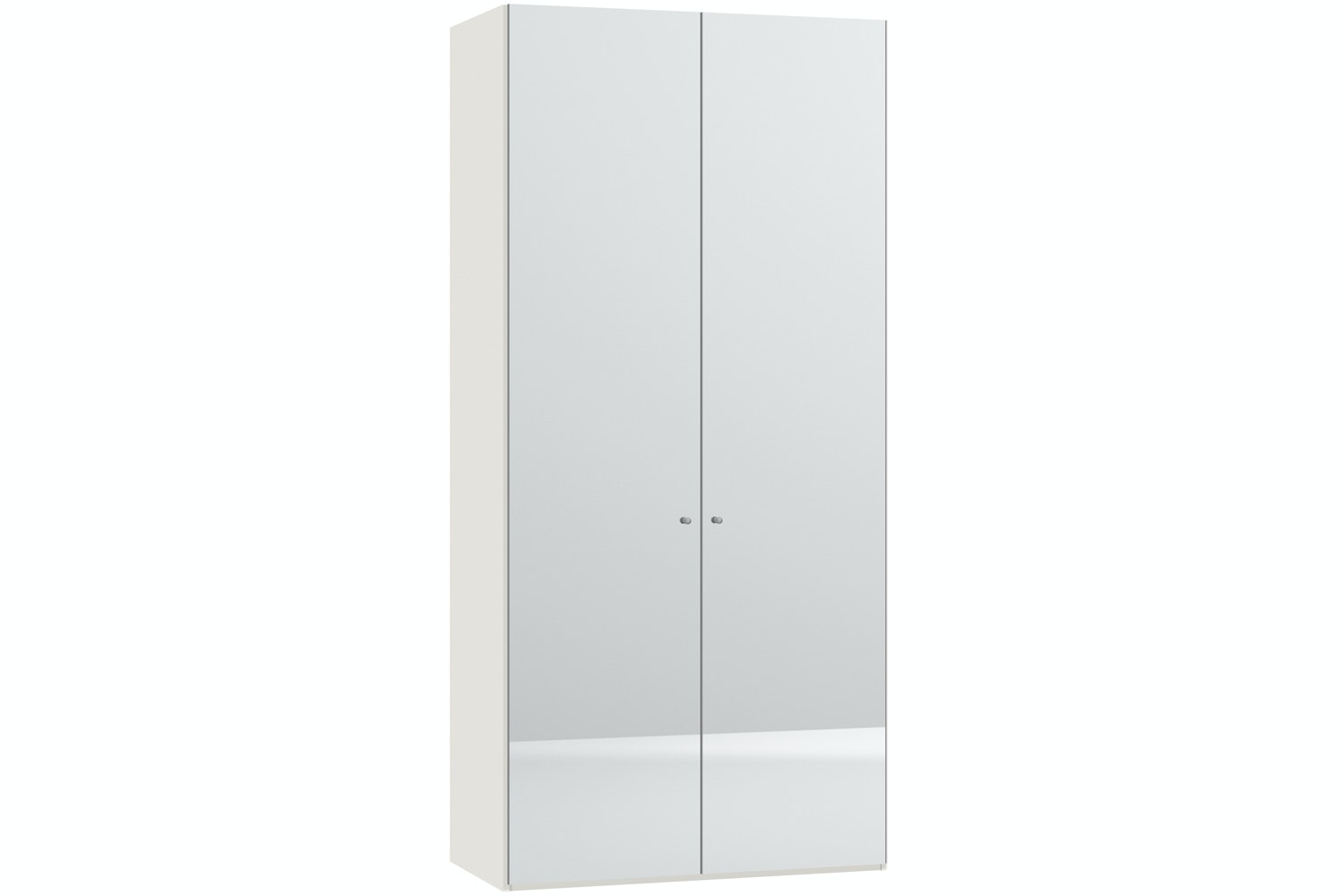Mila Hinged 2 Door Wardrobe 102Cm | Mirror Body White