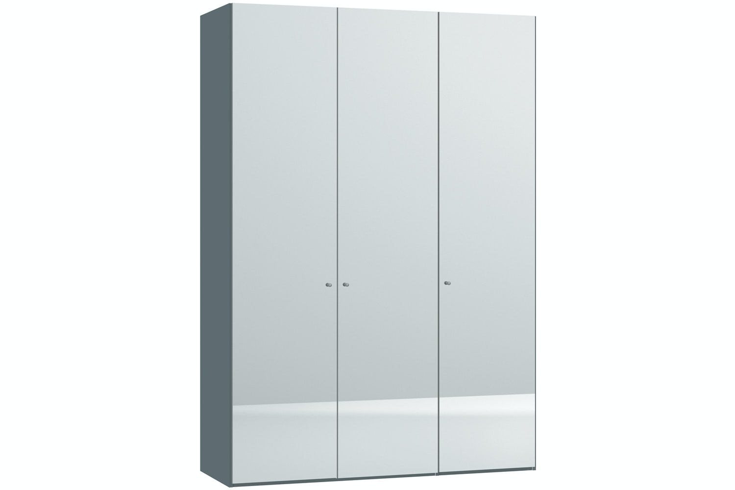 Mila Hinged 3 Door Wardrobe 152Cm | Mirror Body Metallic