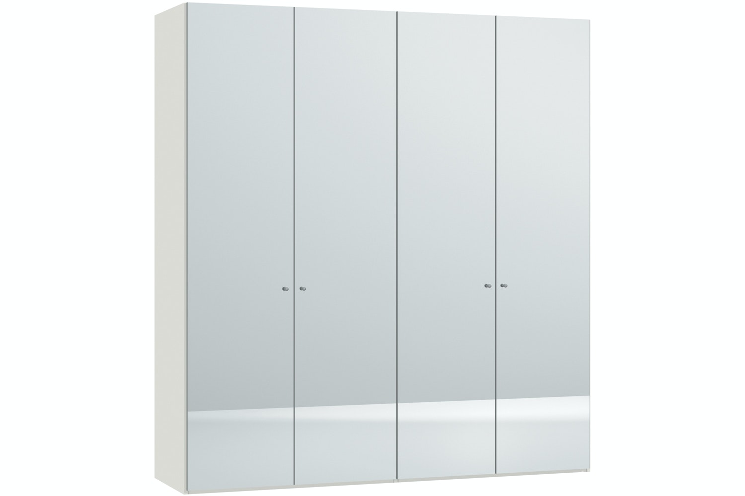Mila Hinged 4 Door Wardrobe 203Cm | Mirror Body White