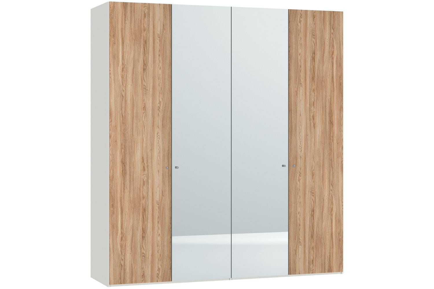 Christine Hinged 4 Door Wardrobe 203Cm |Oak + Mirror