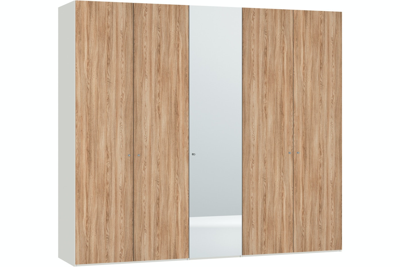 Christine Hinged 5 Door Wardrobe 253Cm |Oak + Mirror