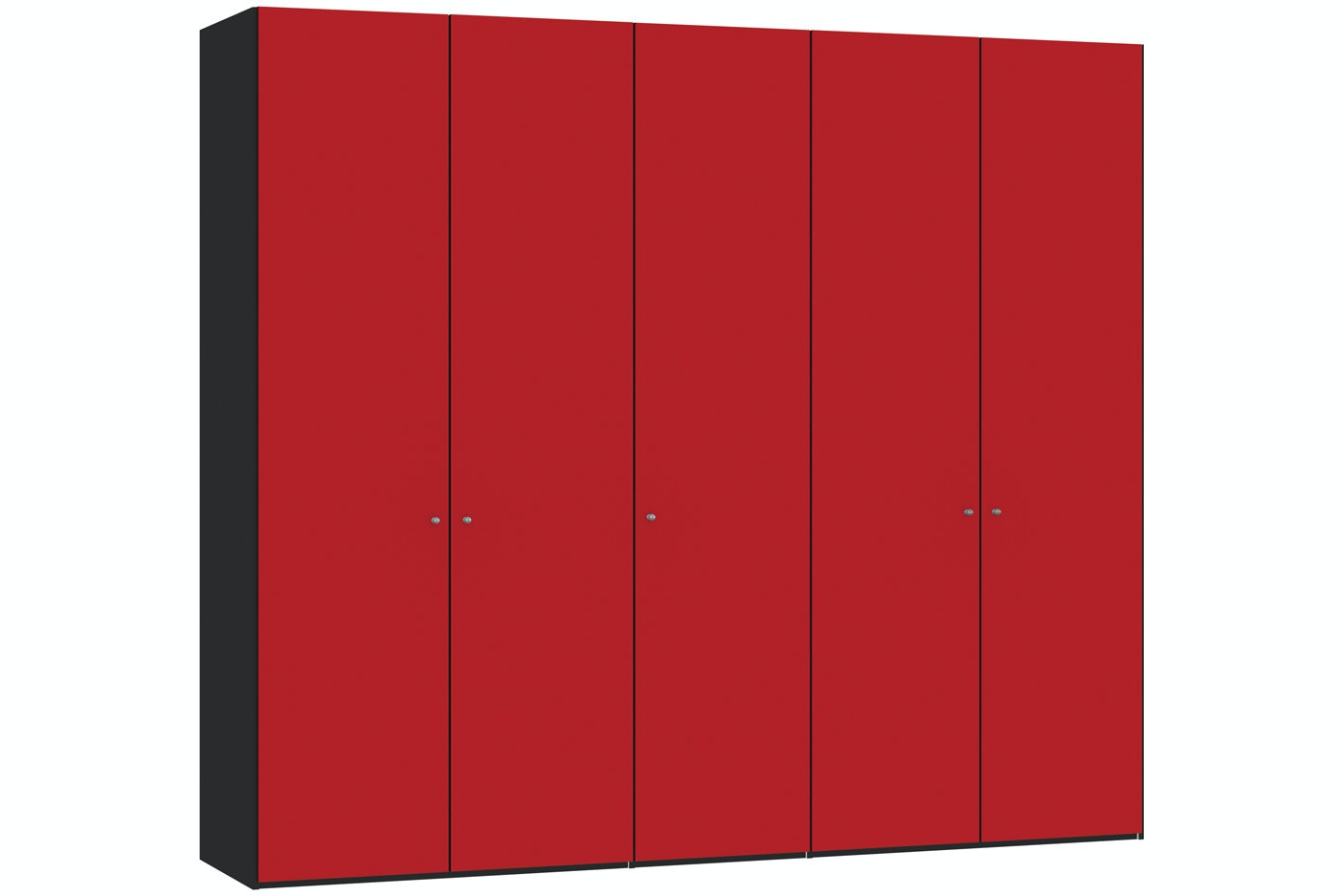 Jutzler Skye Longline 5 Door Wardrobe | Red Glass Matte