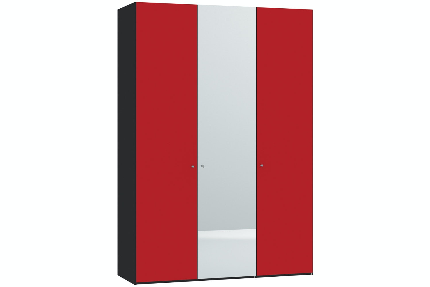 Skye Hinged 3 Door Wardrobe 152Cm | Red Glass Matt + Mirror