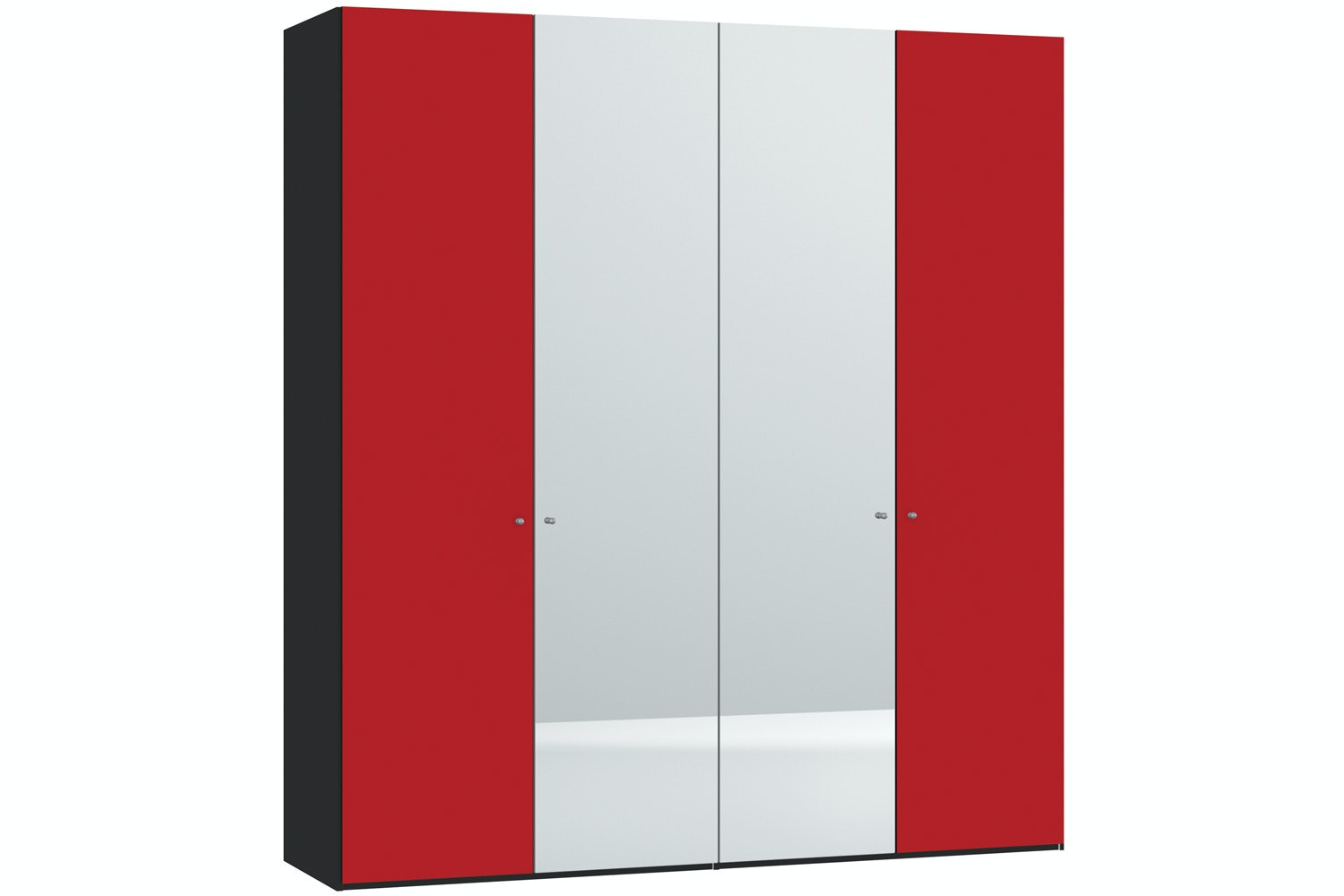 Skye Hinged 4 Door Wardrobe 203Cm | Red Glass Matt + Mirror
