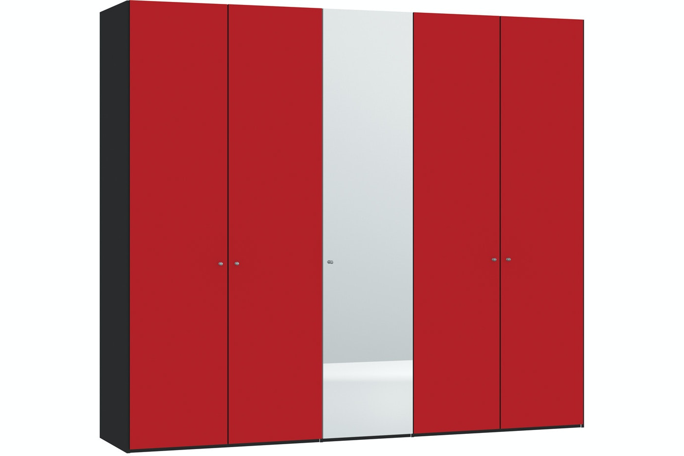 Skye Hinged 5 Door Wardrobe 253Cm | Red Glass Matt + Mirror