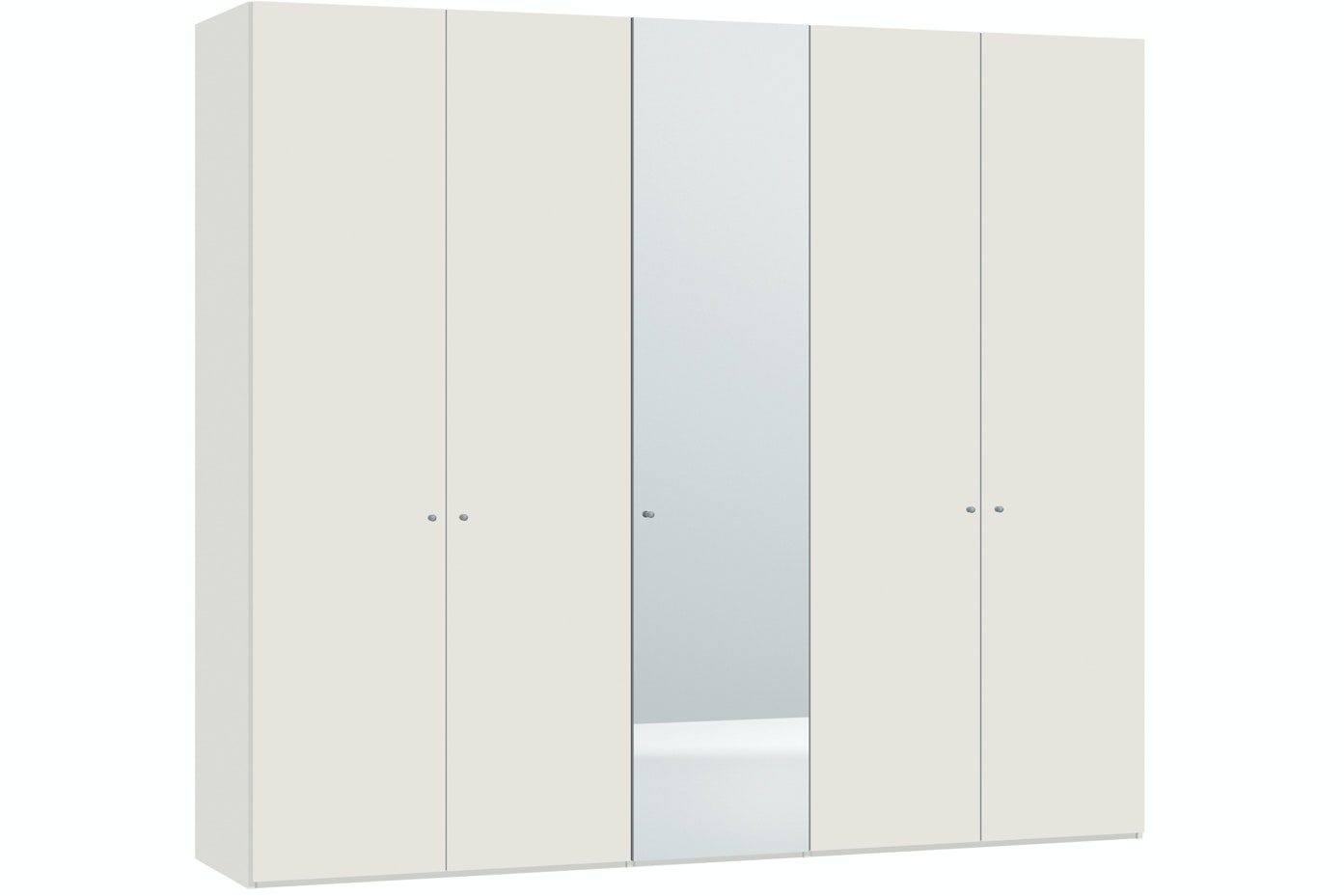 Emer Hinged 5 Door Wardrobe  253Cm | White + Mirror