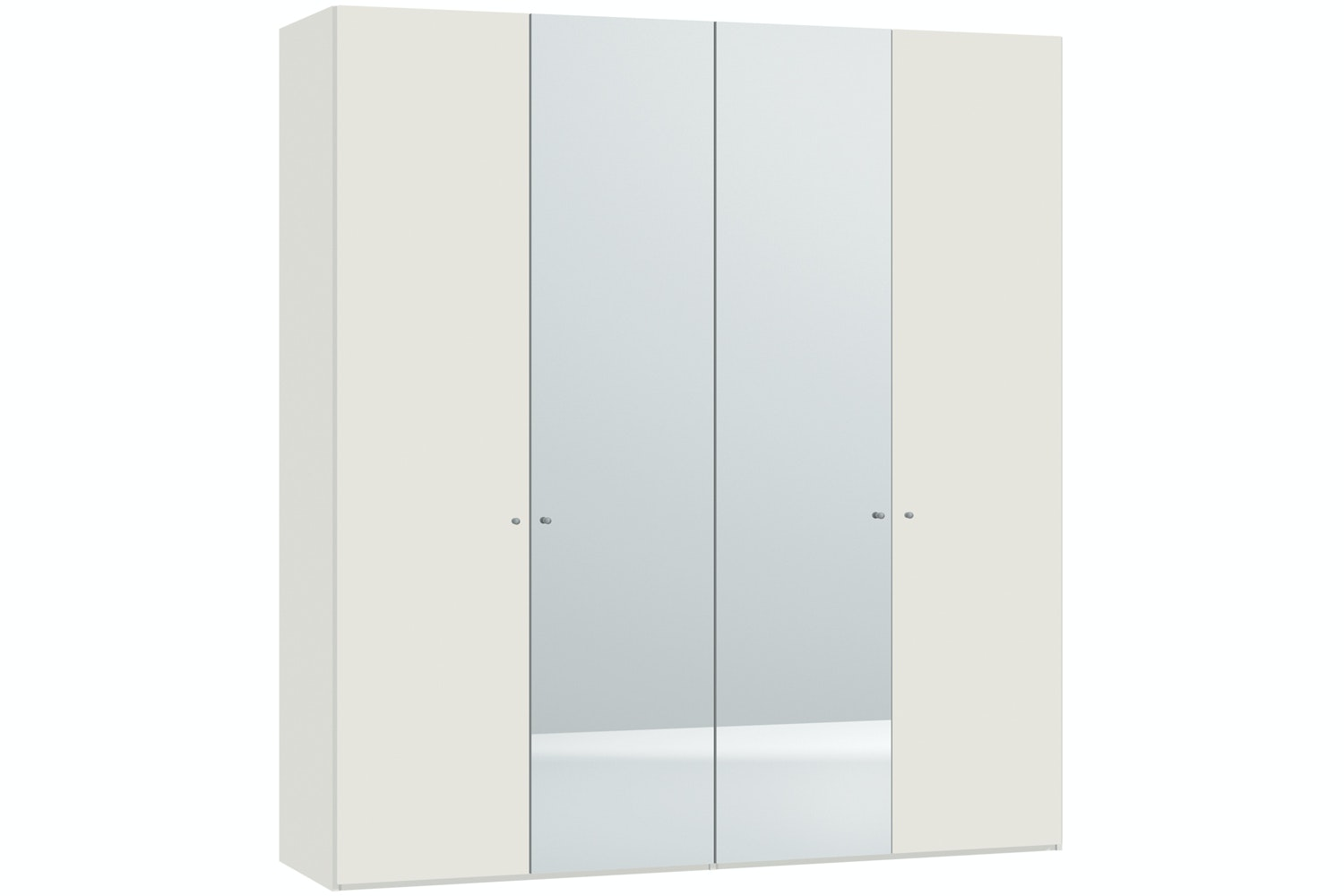 Emer Hinged 4 Door Wardrobe 203Cm | White + Mirror
