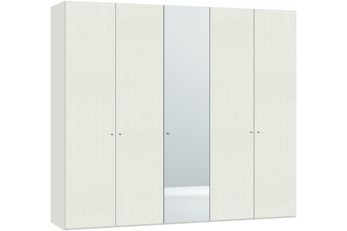 Julia Hinged 5 Door Wardrobe  253Cm | White Ash + Mirror