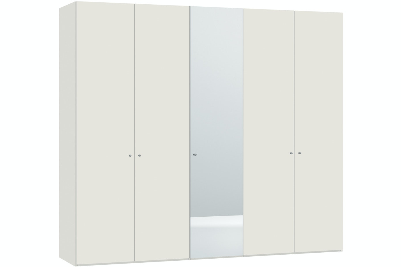 Yasmin Hinged 5 Door Wardrobe  253Cm | High Gloss + Mirror