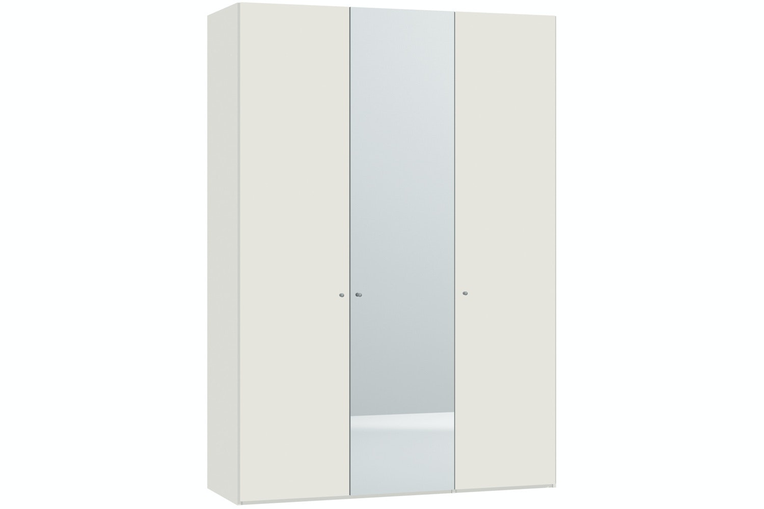 Yasmin Hinged 3 Door Wardrobe 152Cm | White High Gloss + Mirror