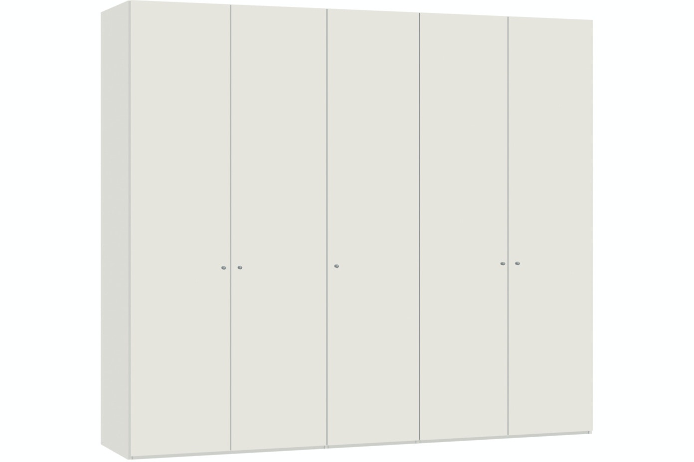 Yasmin Hinged 5 Door Wardrobe 253Cm | White High Gloss