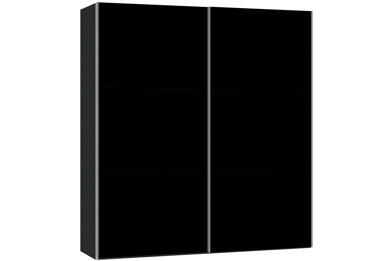 Janet Sliding Wardrobe 203Cm | Black Glass