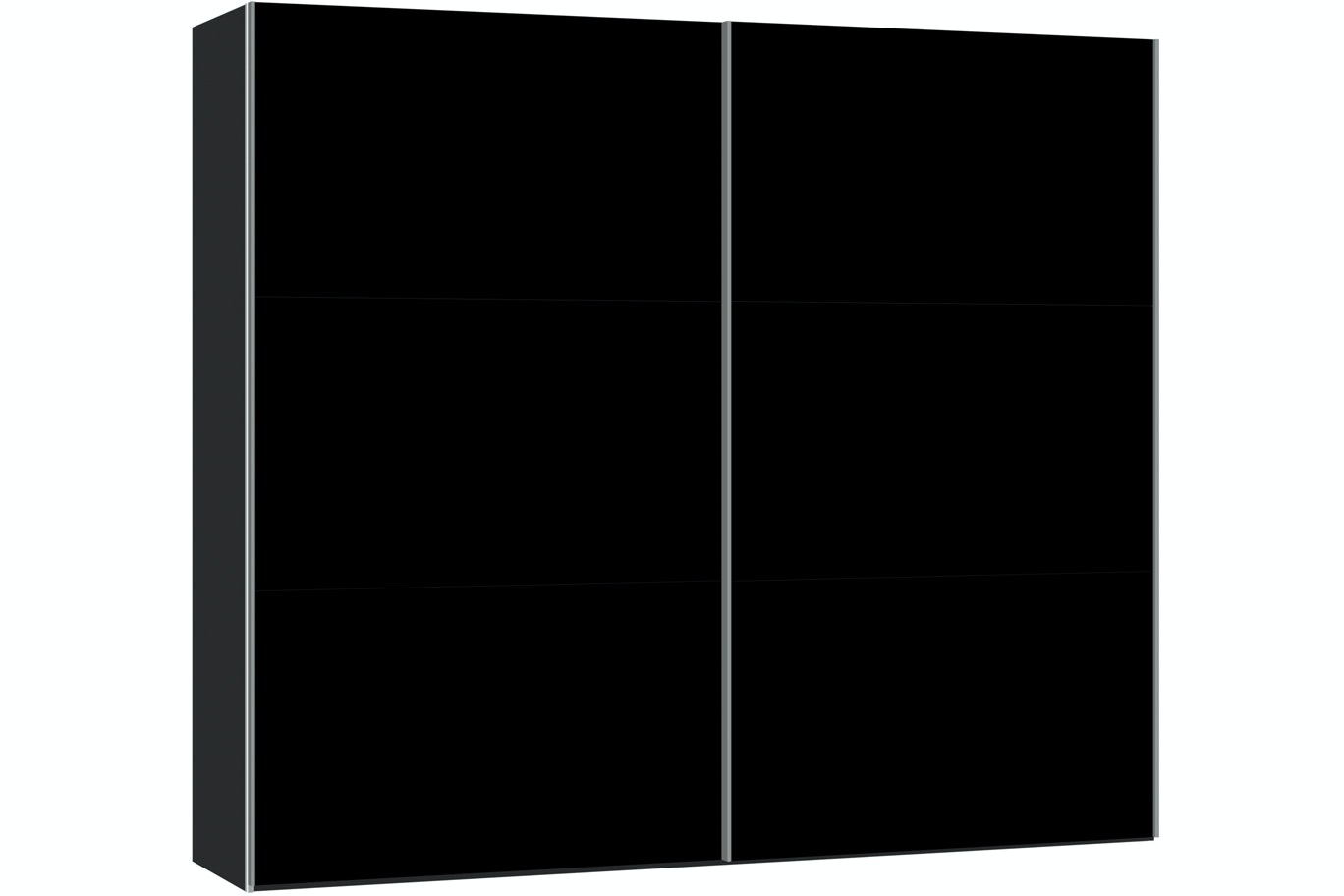 Janet Sliding Wardrobe 253Cm | Black Glass