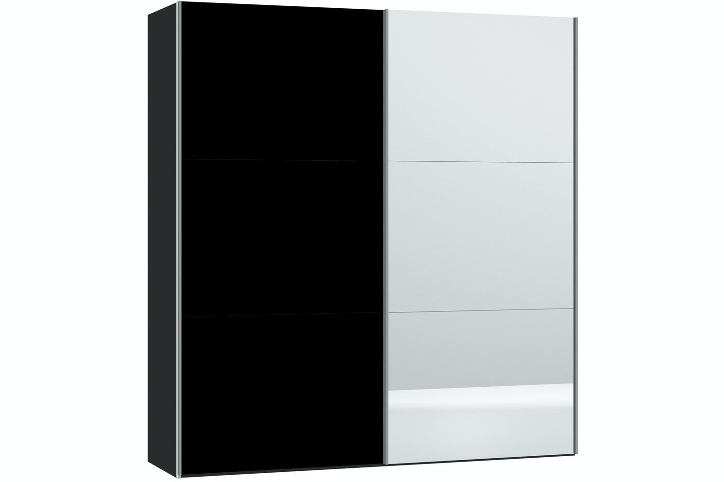 Janet Sliding Wardrobe 203Cm | Black Glass + Mirror