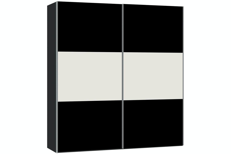 Janet Sliding Wardrobe 203Cm | Black Glass + White Glass