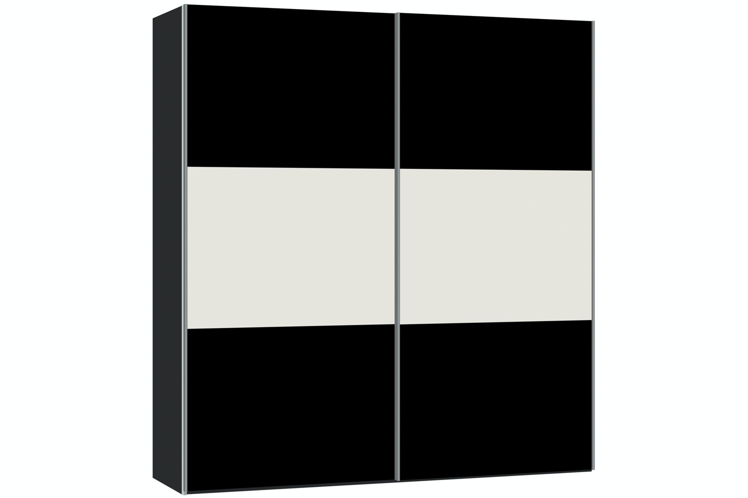 Janet Sliding Wardrobe 203Cm | Black Glass + White Glass