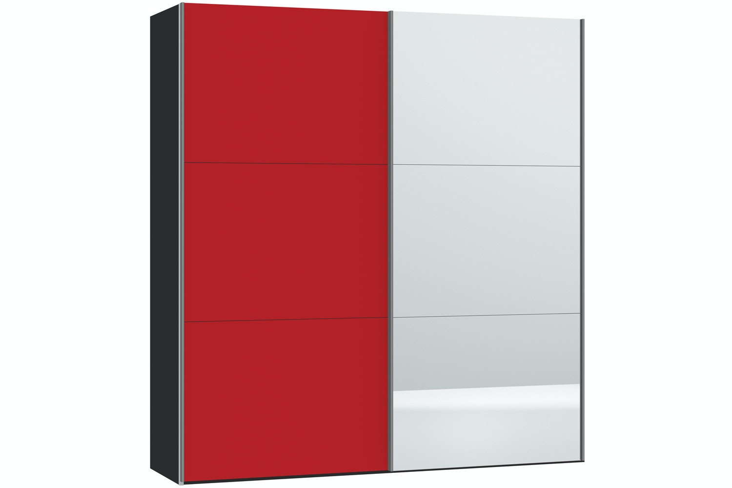 Skye Sliding Wardrobe 203Cm | Red Glass Matt + Mirror