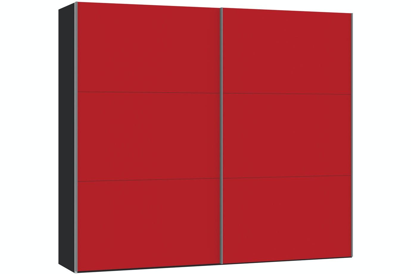Skye Sliding Wardrobe 253Cm | Red Glass Matt