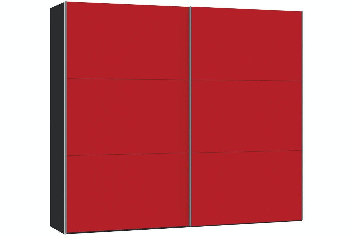 Skye Sliding Wardrobe 253Cm | Red Glass Matt