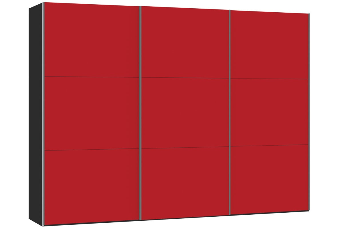 Skye Sliding Wardrobe 303Cm | Red Glass Matt