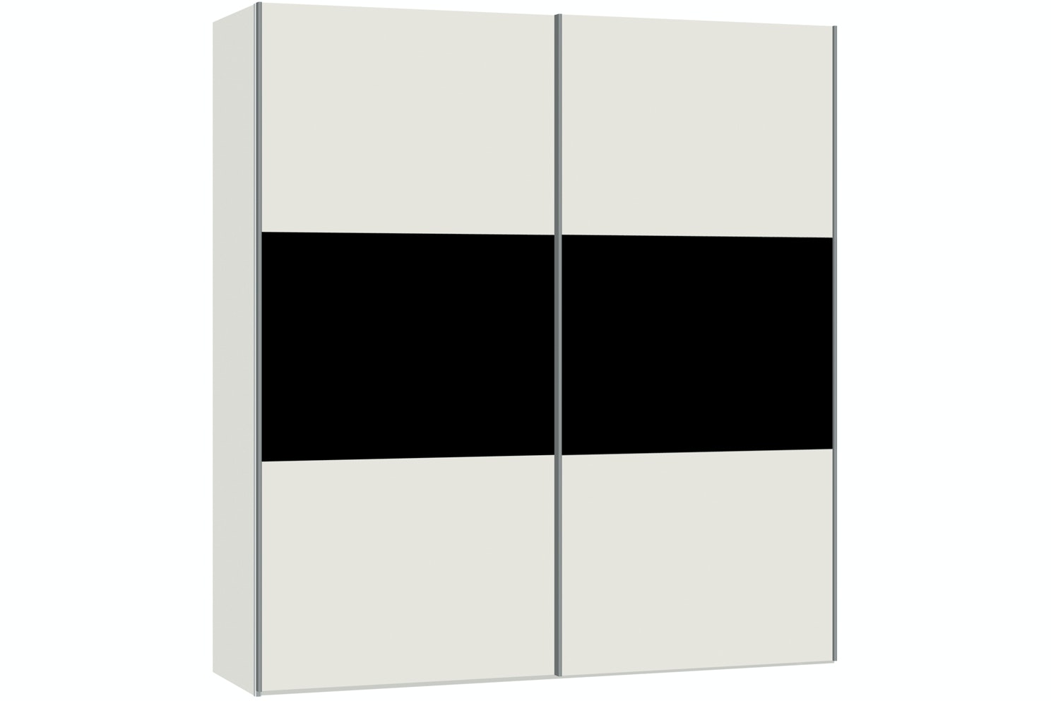 Zoe Sliding Wardrobe 203Cm | White Glass + Black Glass