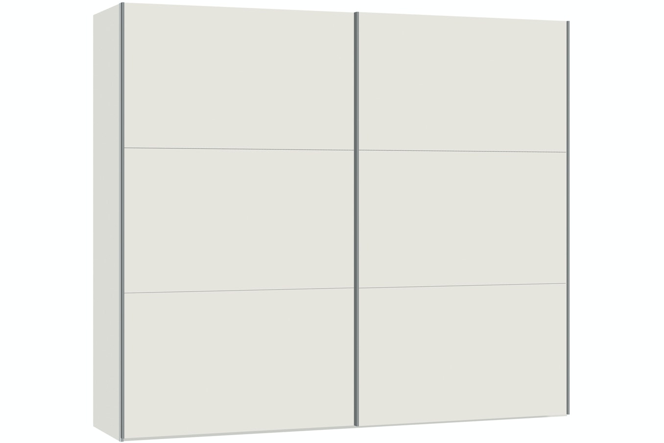Zoe Sliding Wardrobe 253Cm | White Glass